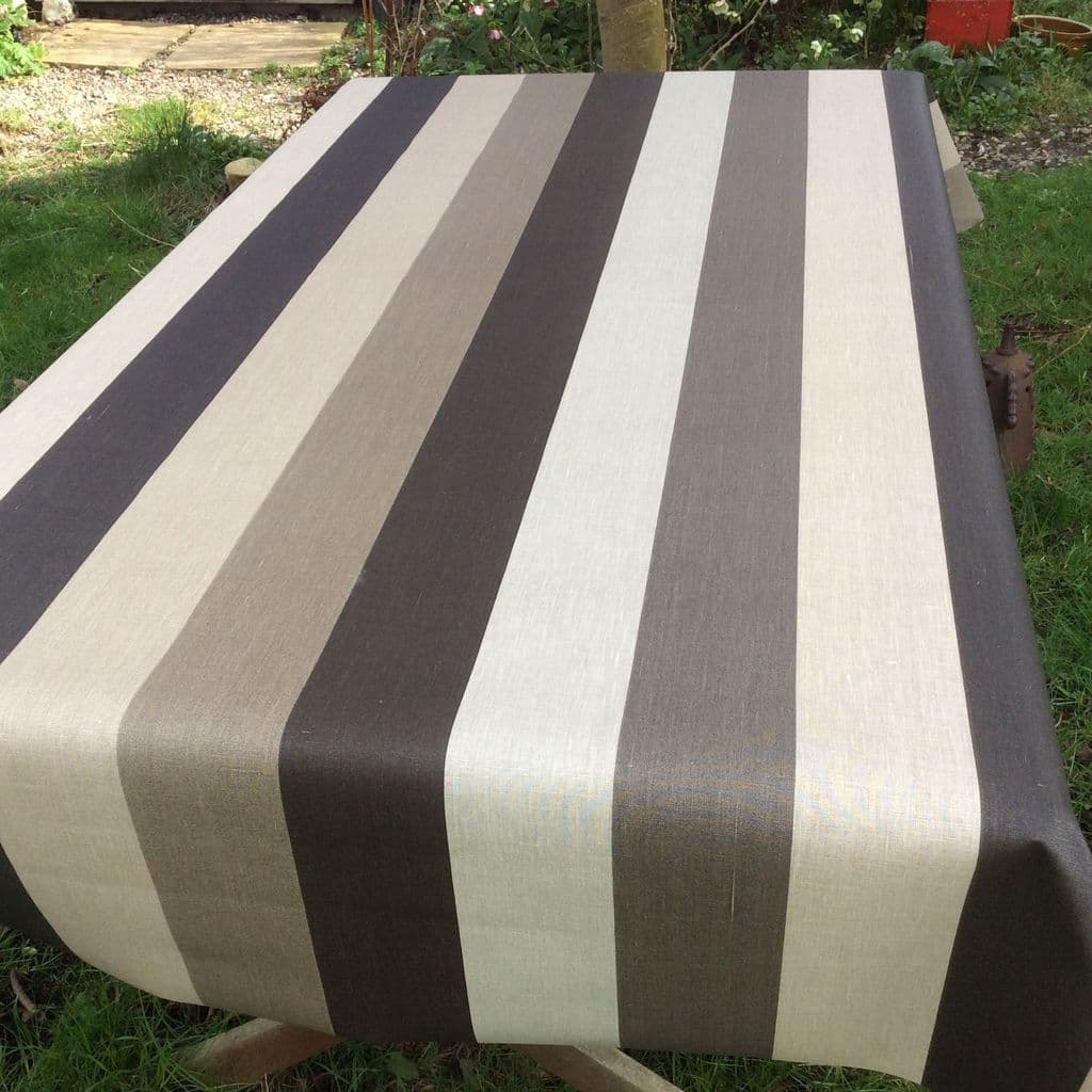 Pronto Stripe Extra Wide Oilcloth in Brown.